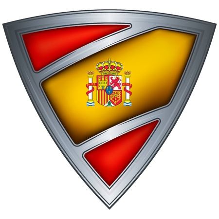 military shield: steel shield with flag kingdom of spain  Illustration
