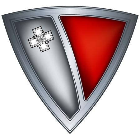 malta flag: steel shield with flag malta  Illustration