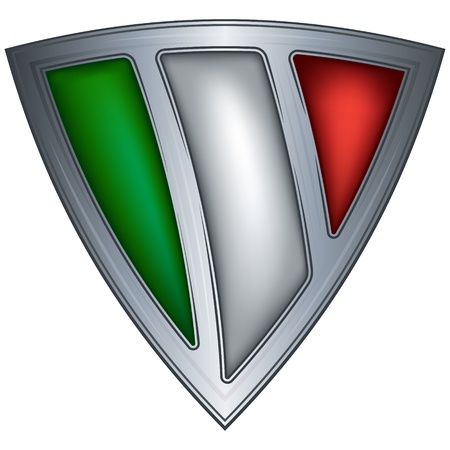 military shield: steel shield with flag italy