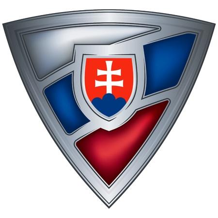 slovakia: acciaio scudo con bandiera Repubblica Slovacca