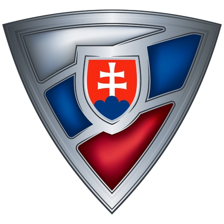 slovakia: steel shield with flag slovak republic