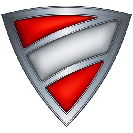 austria flag: steel shield with flag austria  Illustration