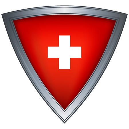 switzerland: steel shield with flag switzerland