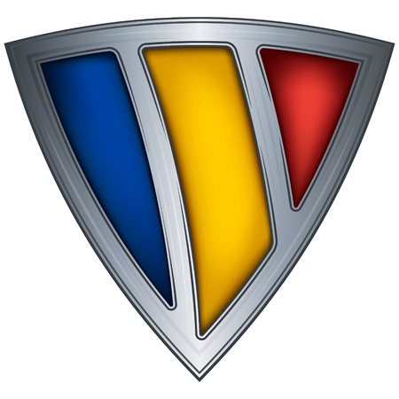 romania flag: steel shield with flag romania