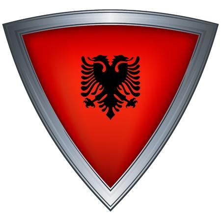 albanie: acier Bouclier avec le drapeau albanais