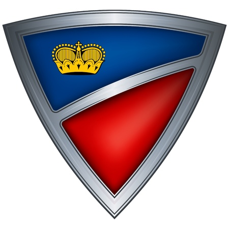 steel shield with flag liechtenstein  Stock Vector - 10775712