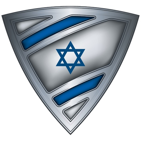 and israel: steel shield with flag israel Illustration