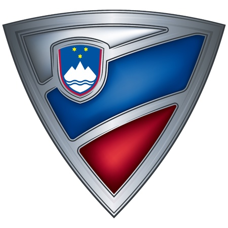 steel shield with flag slovenia  Vector