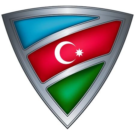 steel shield with flag azerbaijan  Stock Vector - 10775730