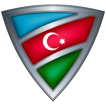 azerbaijan: steel shield with flag azerbaijan  Illustration