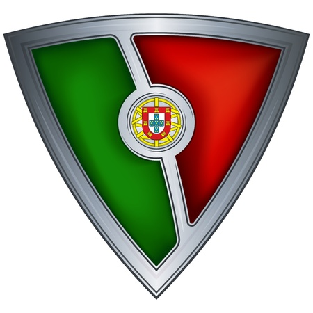portugal flag: steel shield with flag portugal