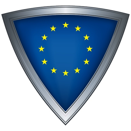 military shield: steel shield with flag european union