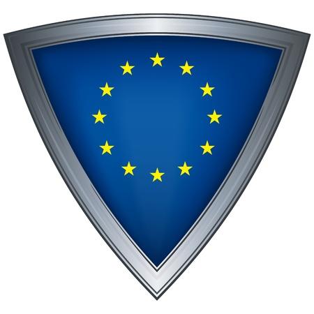 shiny shield: steel shield with flag european union