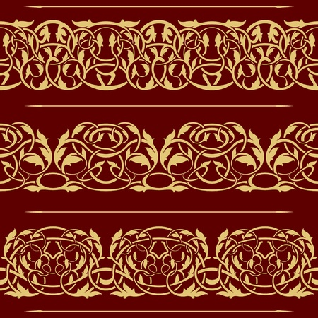 collection of gold floral seamless border design element Stock Vector - 10775721
