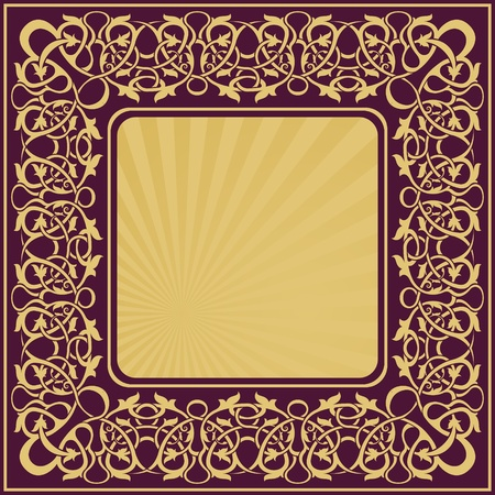 rectangle gold frame with floral ornamental border Stock Vector - 10775732