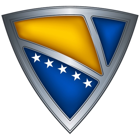 bosnia and herzegovina: Steel shield with flag Bosnia and Herzegovina