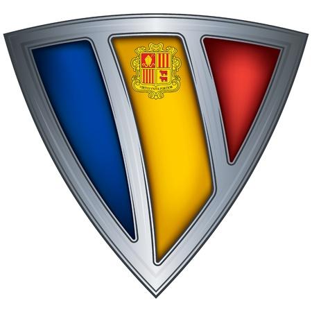 andorra: Steel shield with flag Andorra