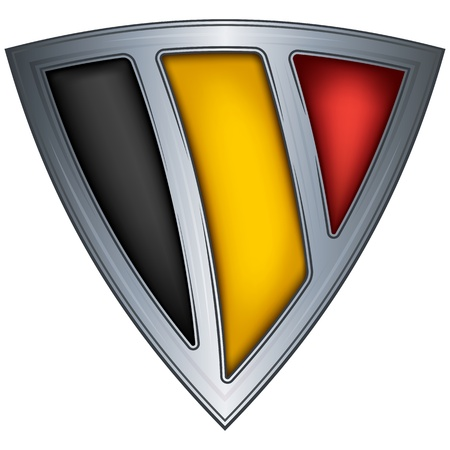 belgium flag: Steel shield with flag Belgium