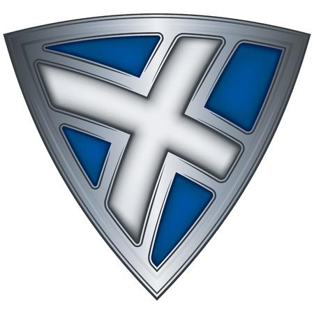 scotland flag: Steel shield with flag Scotland