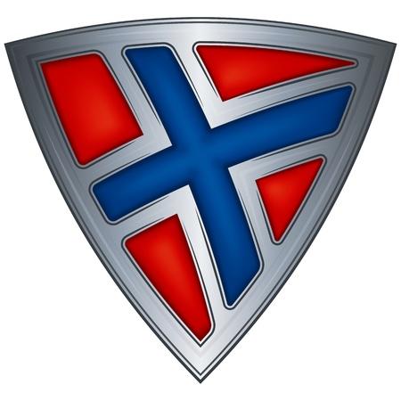 Acero escudo con la bandera de Noruega