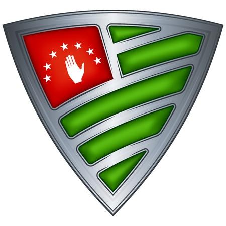 abkhazia: Steel shield with flag Abkhazia
