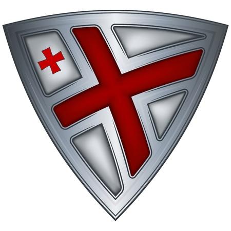 georgia: Steel shield with flag Georgia  Illustration
