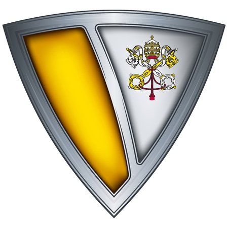 Steel shield with flag Vatican  Illustration