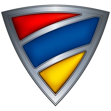 armenia: steel shield with flag armenia