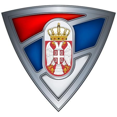 serbia flag: steel shield with flag serbia Illustration