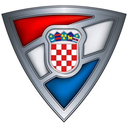 steel shield with flag croatia Stock Vector - 10905903