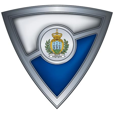 san marino: steel shield with flag san marino