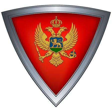 montenegro: steel shield with flag montenegro