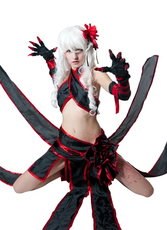 cosplay: girl in manga style suit on white