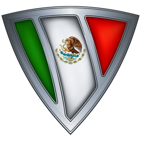 triangle flag: steel shield with flag mexico  Illustration