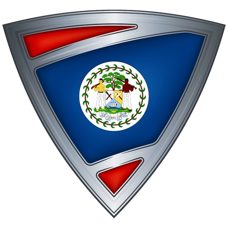 belize: steel shield with flag belize
