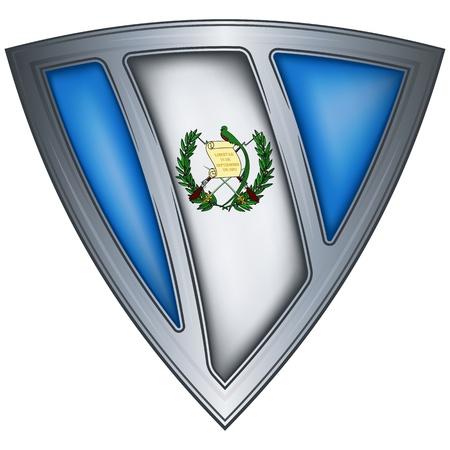 guatemala: steel shield with flag guatemala