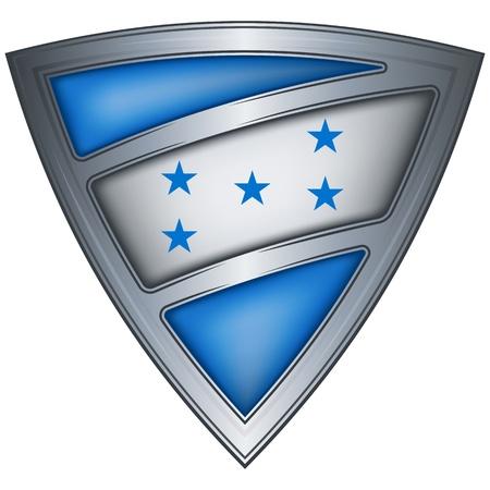 bandera de honduras: acero escudo con la bandera de Honduras Vectores