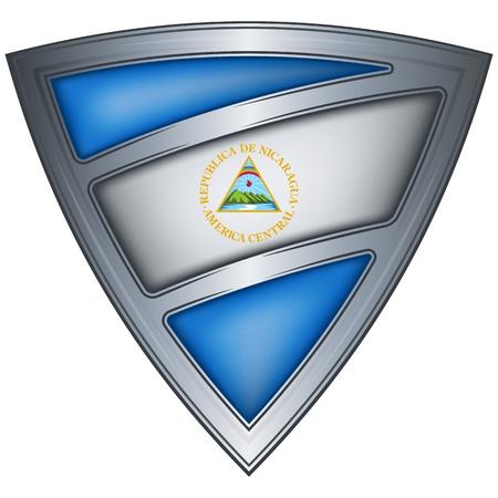 Nicaragua: steel shield with flag nicaragua  Illustration