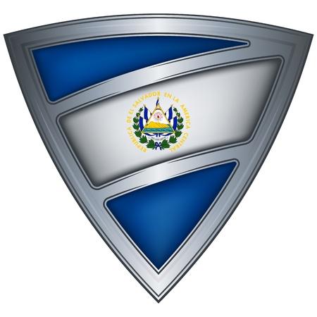 el salvador flag: el salvador flag shield with steel Illustration