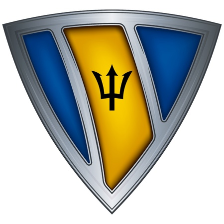 steel shield with flag barbados  Vector