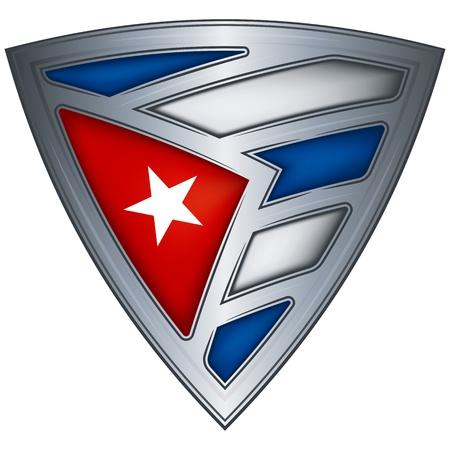bandera cuba: acero escudo con la bandera de Cuba Vectores