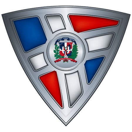 steel shield with flag dominican republic  Illustration