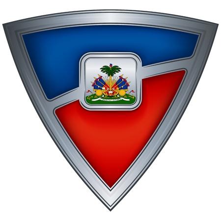 haiti: steel shield with flag haiti