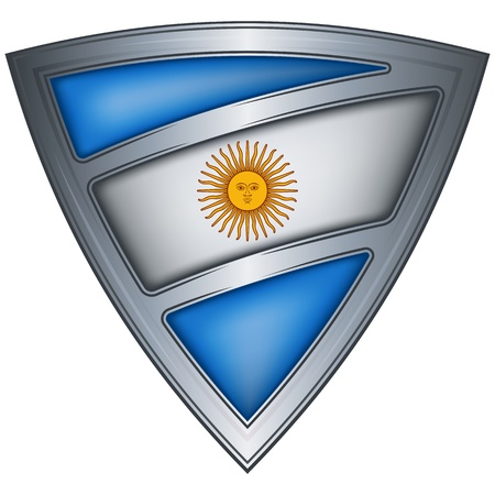argentina flag: steel shield with flag argentina  Illustration