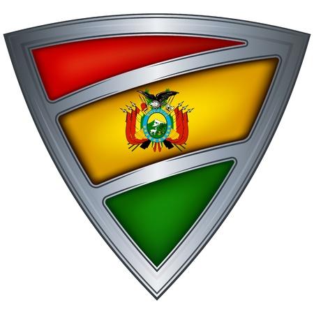 bandera bolivia: acero escudo con la bandera de Bolivia Vectores