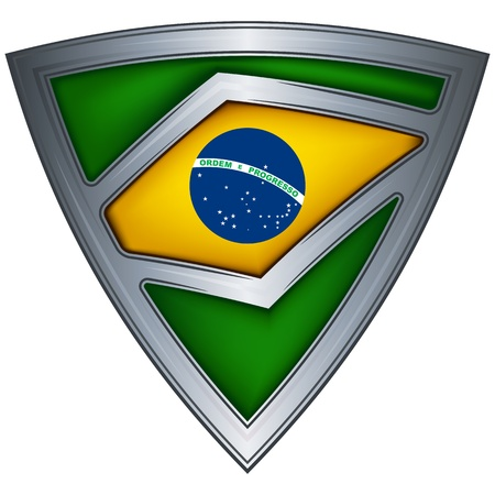 steel shield with flag brazil  Vector