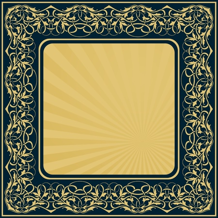 rectangle gold frame with floral ornamental border Stock Vector - 11097612