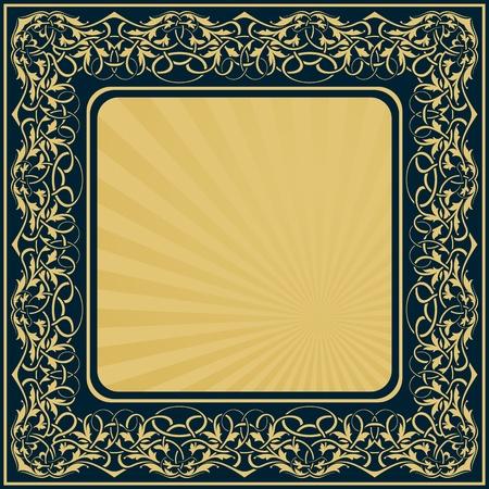 baroque border: rectangle gold frame with floral ornamental border