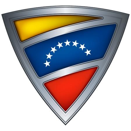 Venezuela flag: Acero escudo con la bandera de Venezuela
