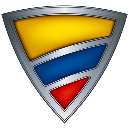 la bandera de colombia: Acero escudo con la bandera de Colombia